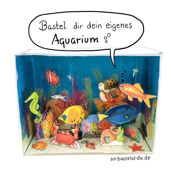 Aquarium im Schuhkarton basteln Bastelbogen