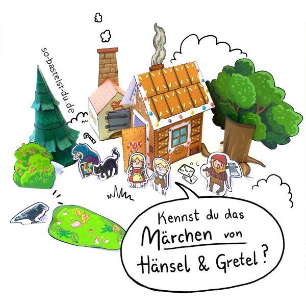 Märchen basteln Hänsel und Gretel Hexenhaus