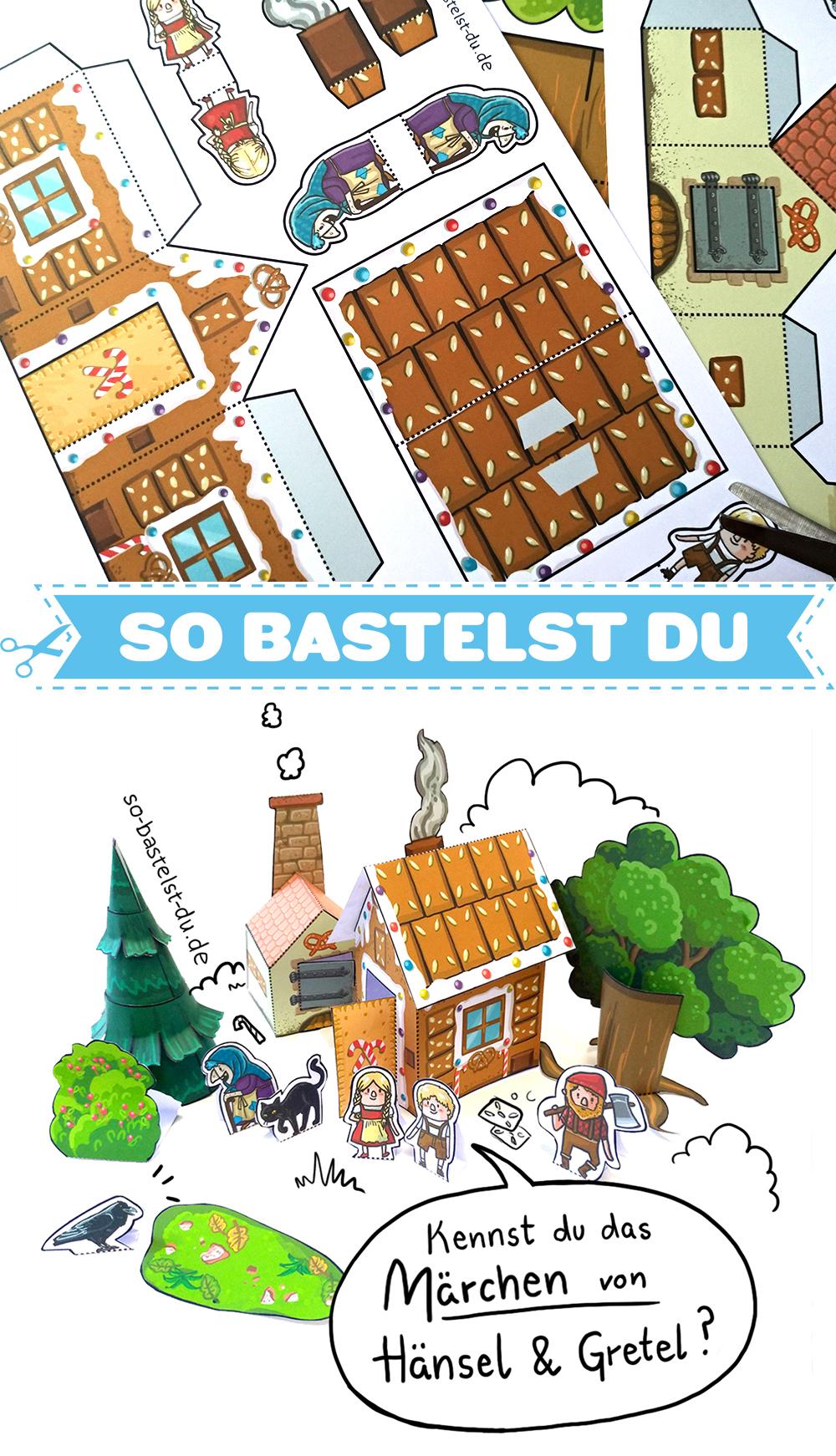 Bastelbogen Märchen Hänsel und Gretel