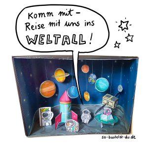 Bastelbogen Weltall Weltraum Papierspielzeug