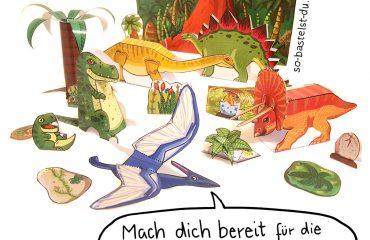 Dinosaurier mit Vulkan basteln Bastelbogen