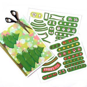 Bastelbogen Weihnachtskarte Weihnachtsbaum