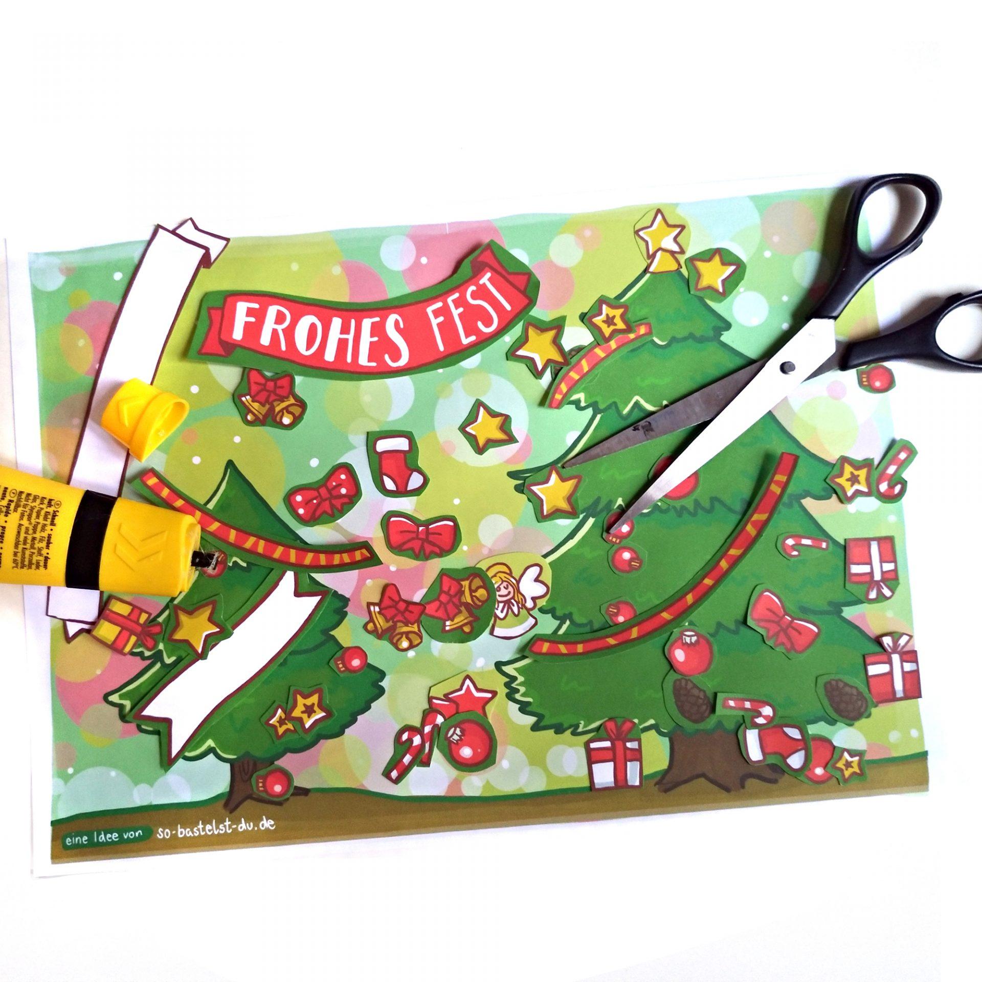 Bastelbogen Weihnachtskarte bekleben