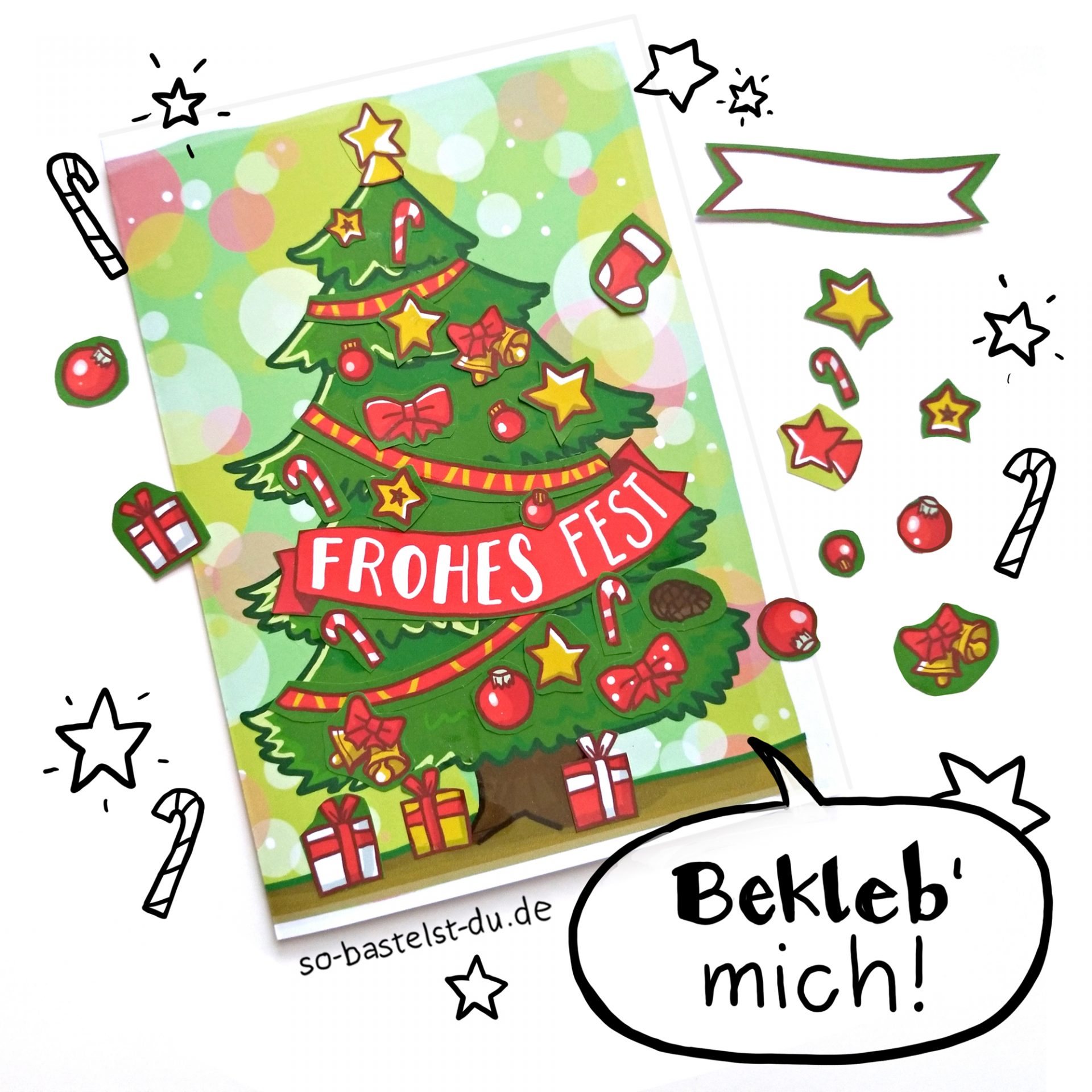 Weihnachtskarte mit Tannenbaum individuell bekleben
