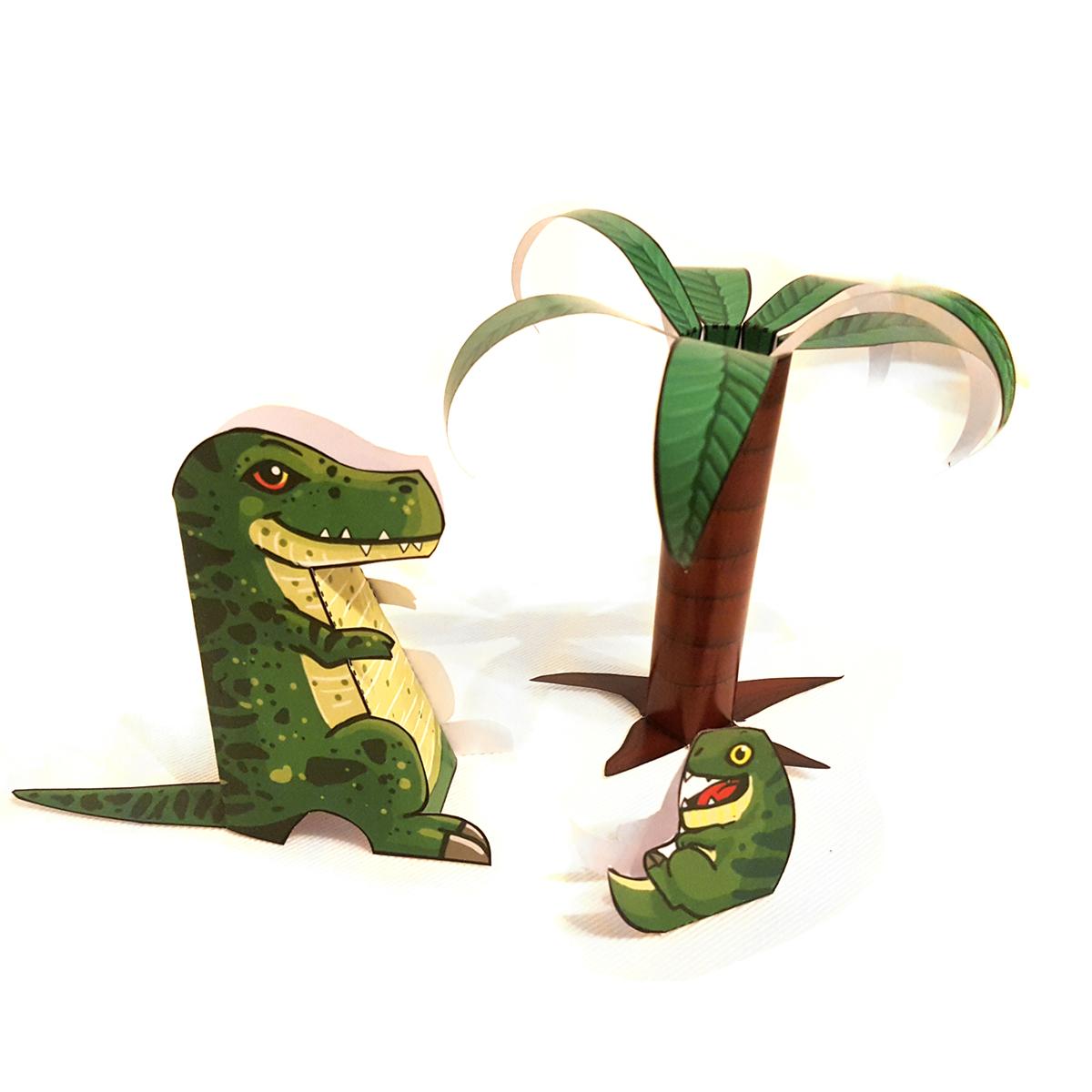T-Rex und Baby Dino basteln