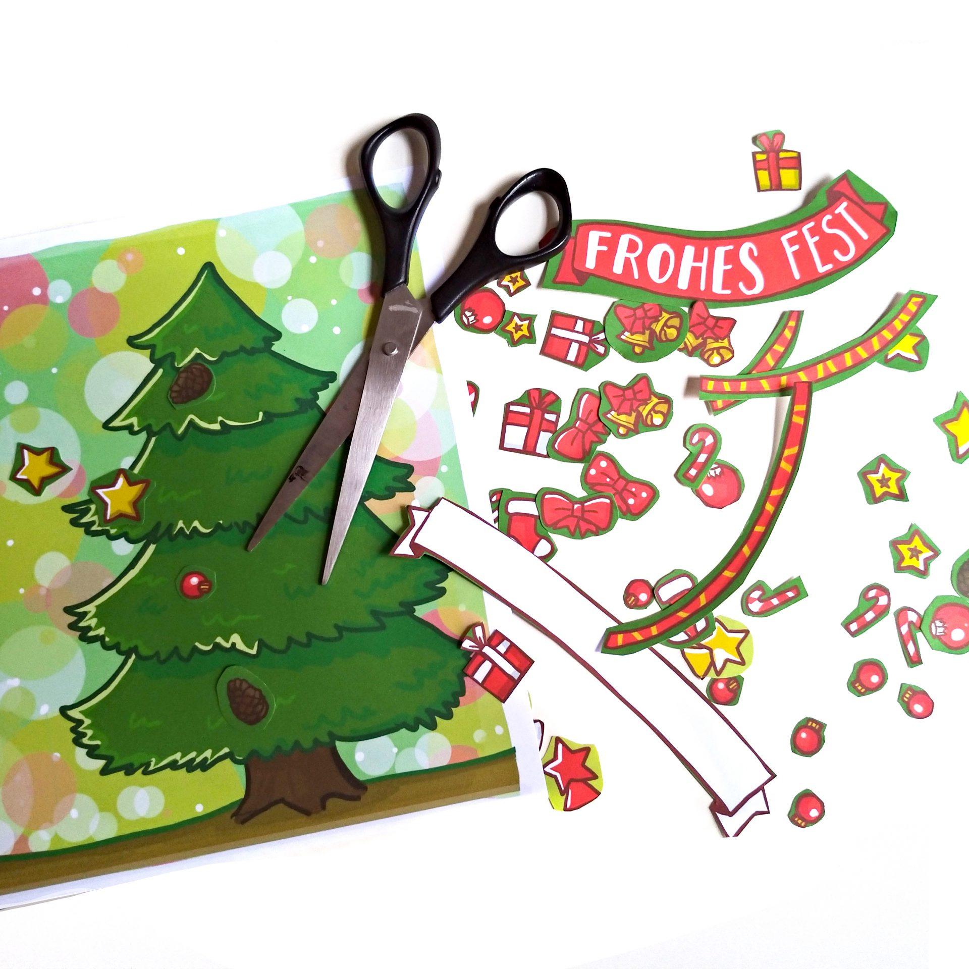 Weihnachtskarte mit Tannenbaum selbst bekleben