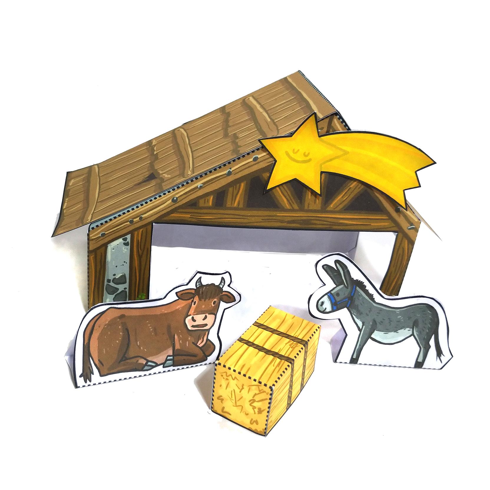 Weihnachtskrippe Stall Ochse und Esel