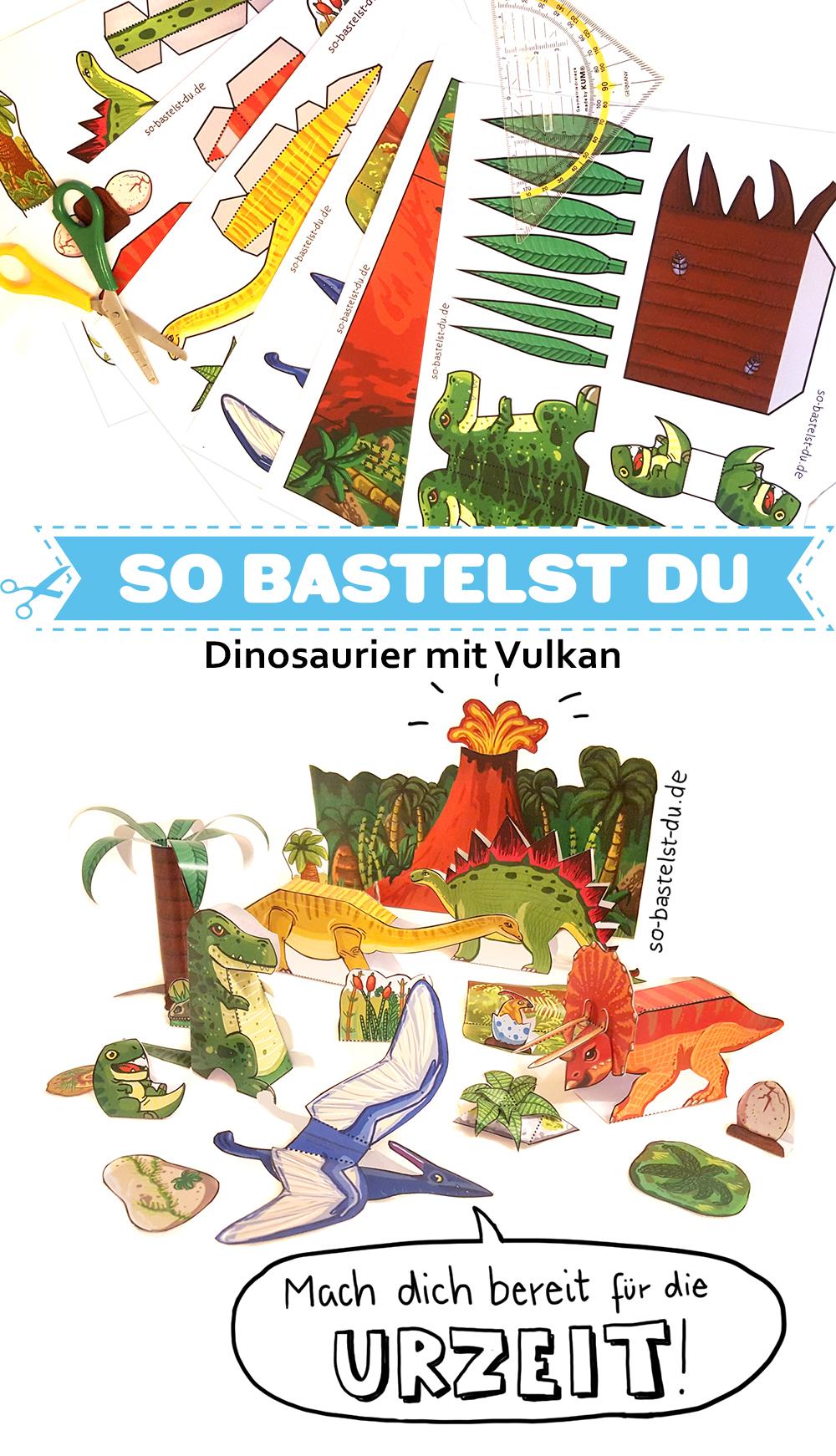 Bastelbogen Dinosaurier mit Vulkan