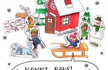 Bastelbogen Winter Schneelandschaft Schlitten