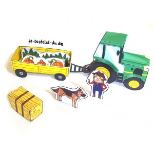 Bauernhof Traktor und Anhänger basteln