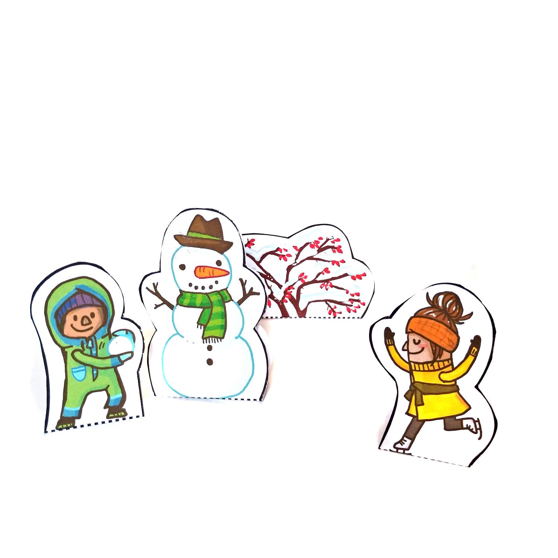 Schneemann und Schlittschuh