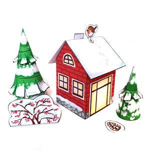 Winterhaus und Wintertannen