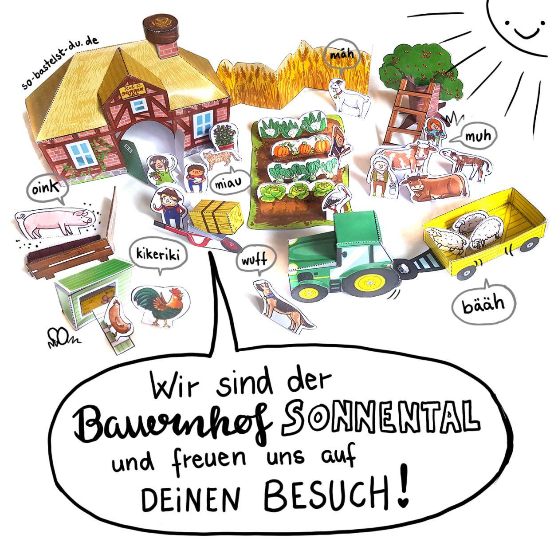 Bastelbogen Bauernhof Sonnental basteln für Kinder