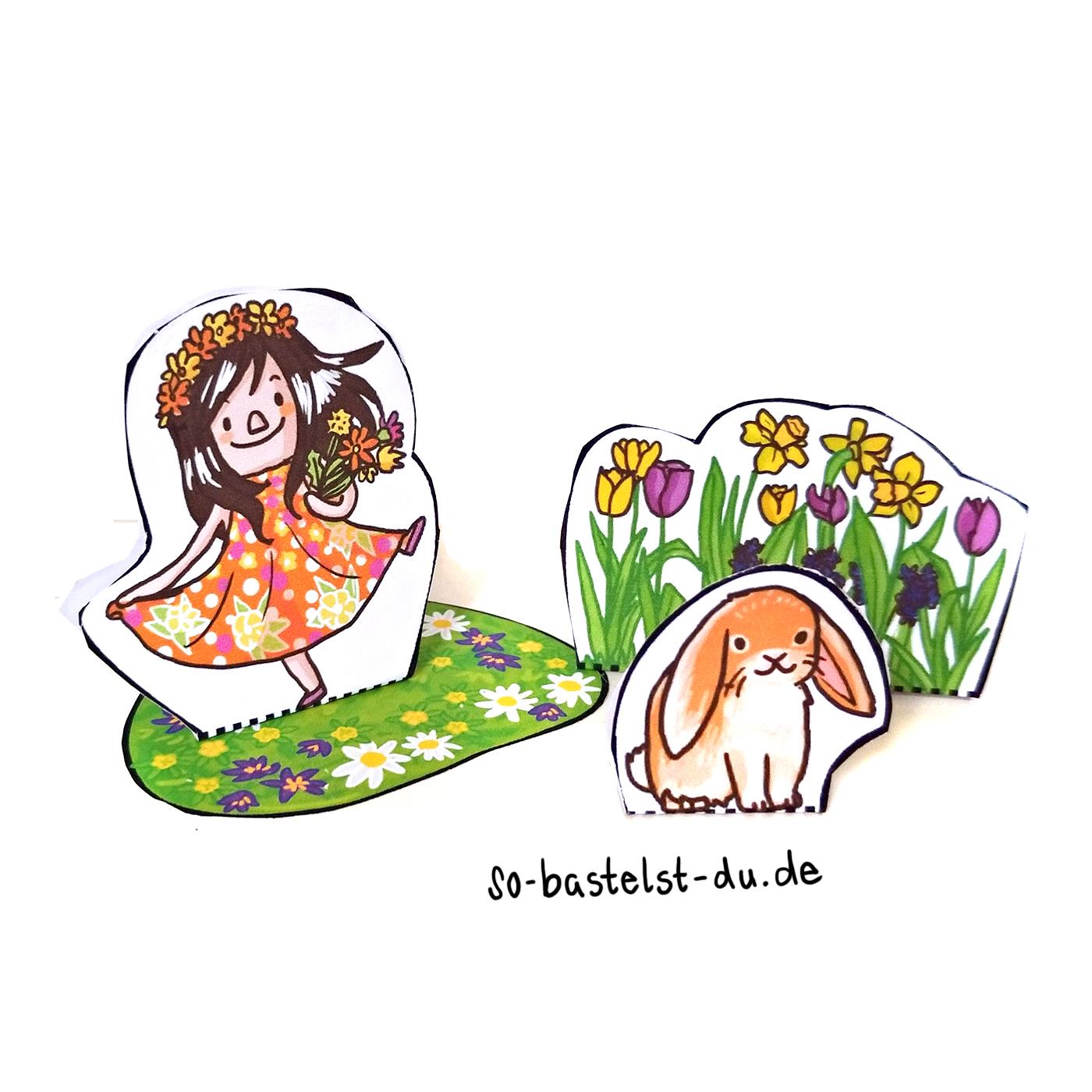 Frühling basteln Blumenmädchen und Kaninchen