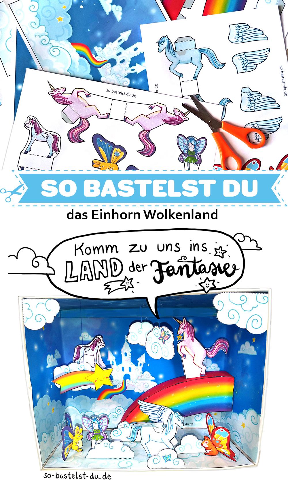 Bastelbogen Einhorn Wolkenland