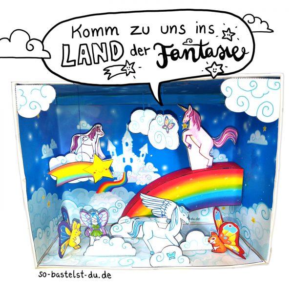 Bastelbogen für Kinder Einhorn Regenbogen Fantasie im Schuhkart