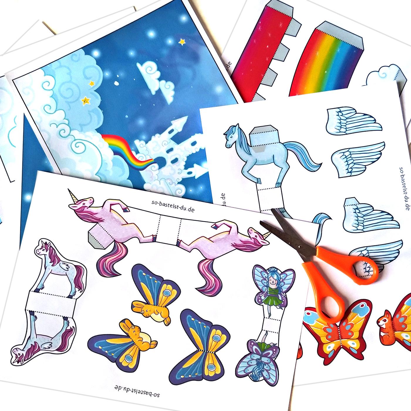 Bastelbogen für Kinder Einhorn Regenbogen Fantasie im Schuhkarton