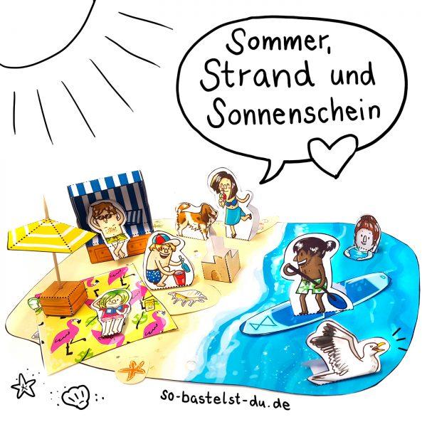 Bastelbogen Sommer Strand Meer basteln für Kinder
